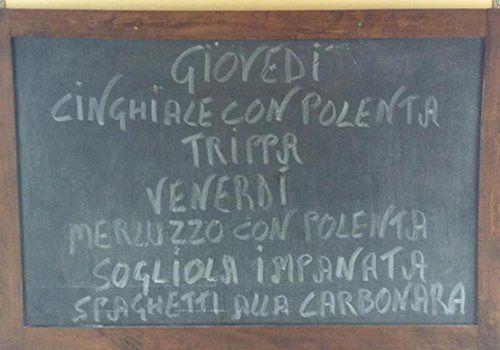 menu su lavagna