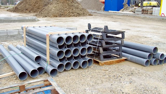Sewage pipes laid out and ready to install