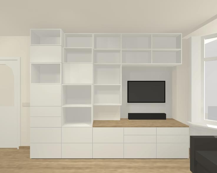 Ontwerp kastenwand woonkamer - Studio Bind