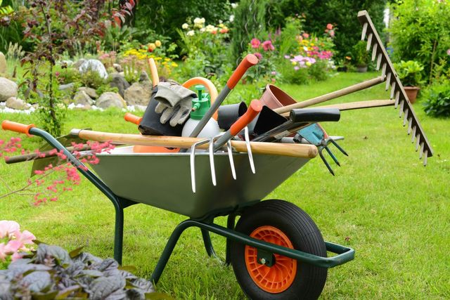 carriola con attrezzi da giardinaggio