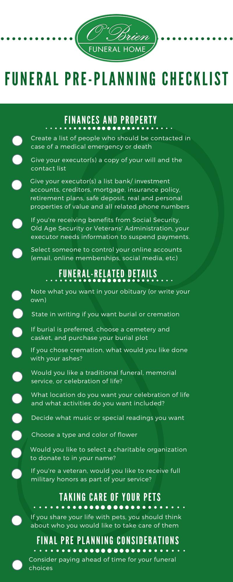 funeral pre planning checklist o brien funeral home