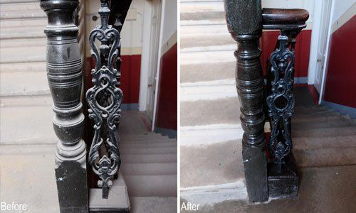 stair railing cleaning
