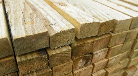 Stacks of freshly cut timber