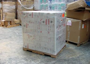 A wrapped pallet ready for commercial haulage in Auckland