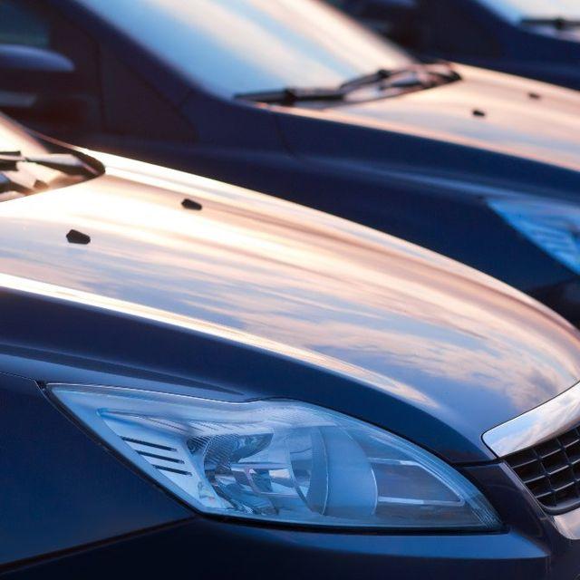 Shiny cars in a row