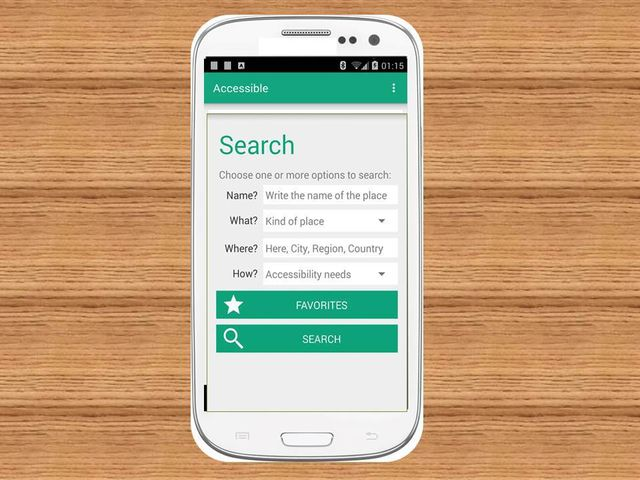 Search screen Accessible the app for your accessibility information