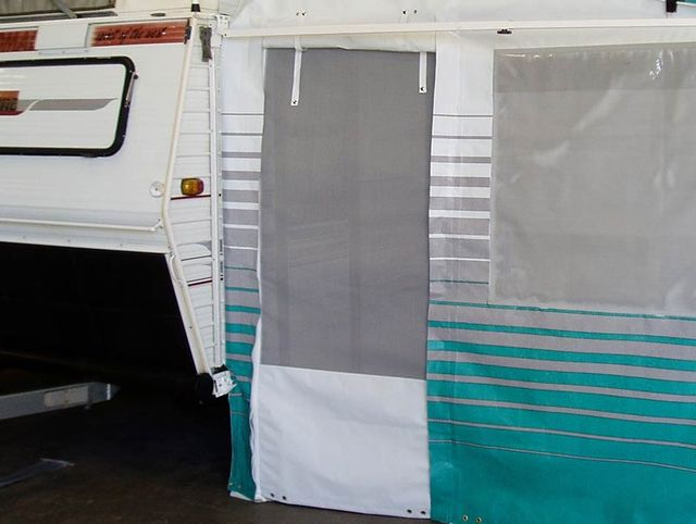 Flyscreen awning wall door