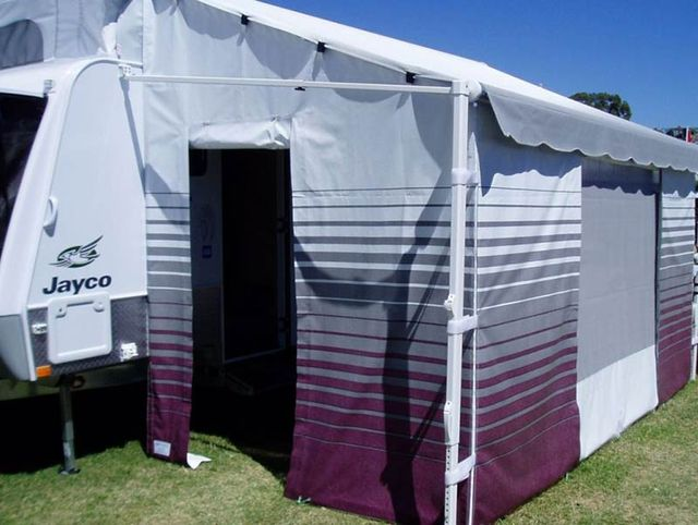 Striped Roll Out Awning Wall