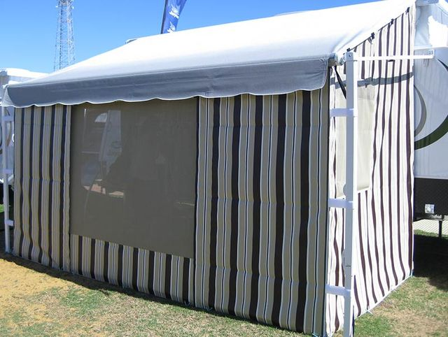 Roll Out Awning Wall In Beige Stripes