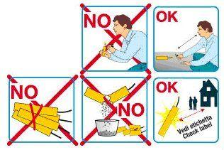 un disegno che spiega i comportamenti da seguire e le cose da non fare quando si ha a che fare con i petardi