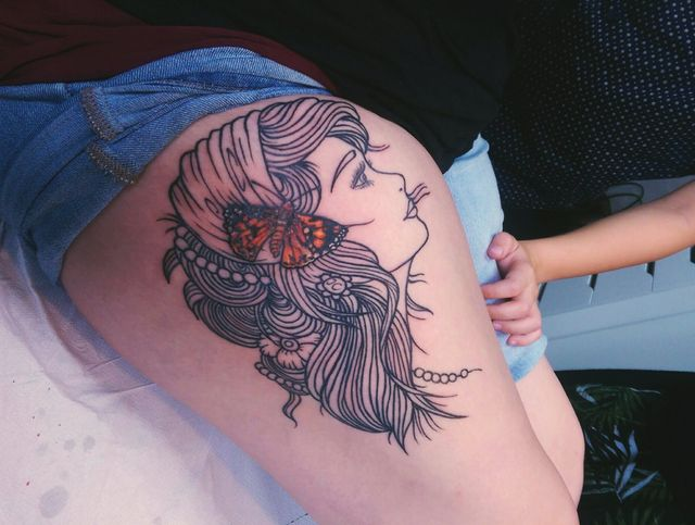 Tattoo of a beautiful girl by our artists at salon in Horsham