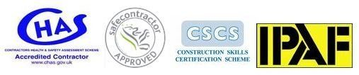 CHAS, safecontractor, CSCS AND IPAF logo
