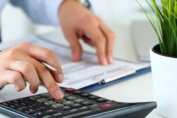 Bookkeeper making  financial report
