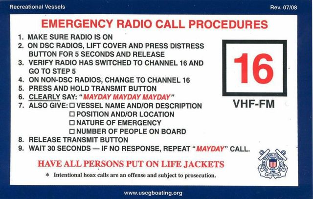 Boater Emergency VHF Procedures
