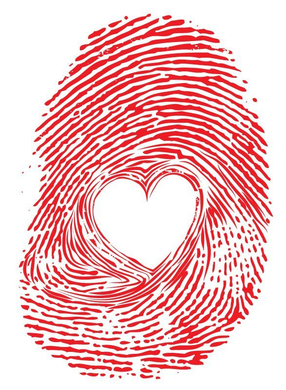 red heart thumb print