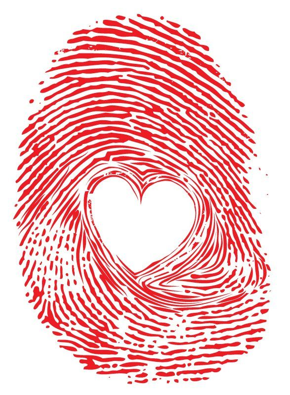 red thumbprint with a heart in the middle