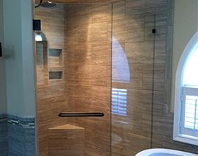 Dressing room glass door repaired by our team in Greensboro, NC