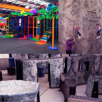playground indoor, rock climbing ad laser field