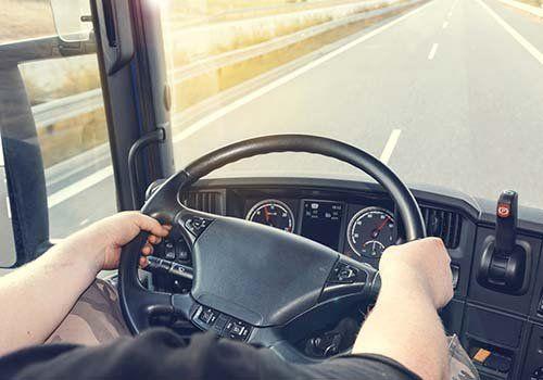 due mani su di un volante di un camion mentre il conducente guida
