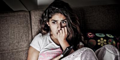 Women watching horror movie