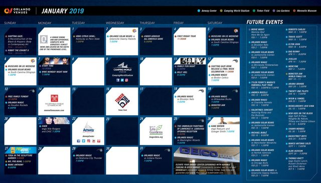 Orlando Event Calendar January 2019 January 2019 Orlando Venue Events