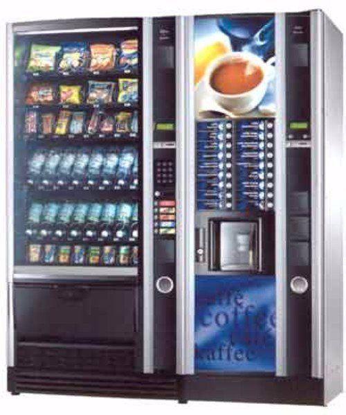distributore automatico a due colonne nero e blu per caffè e bevande