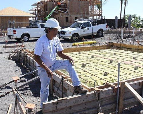 Electrical contractor visiting the new construction site in Kailua-Kona, HI