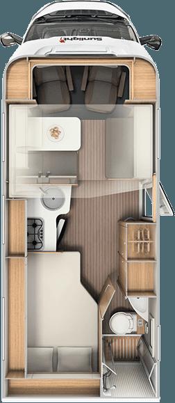 4 Berth Motorhome Rental Ireland - Interior Layout