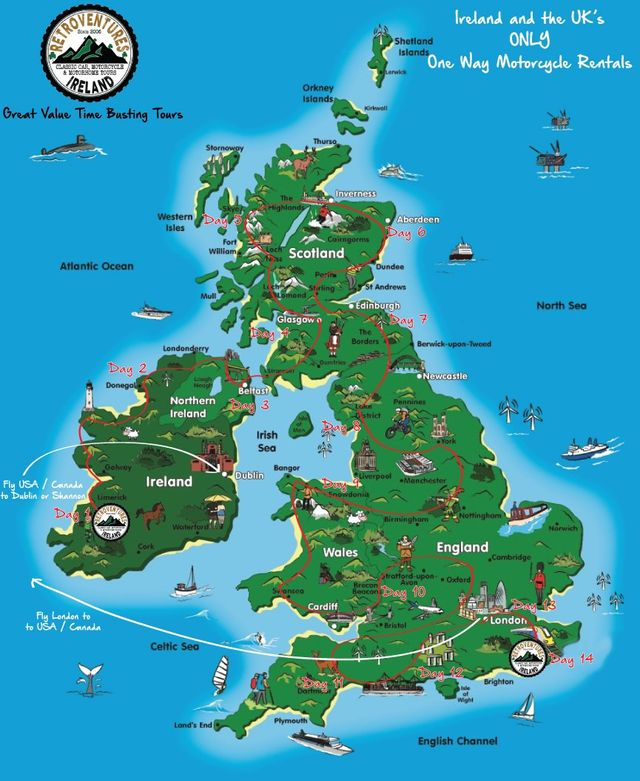 Map Of England Ireland Scotland Wales.Ireland To Uk One Way Motorcycle Rentals