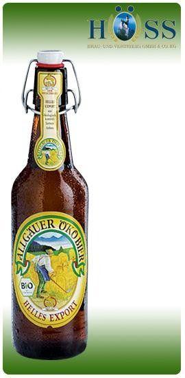 una bottiglia di birra della marca  Allgauer Okobier