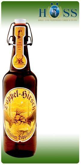 una bottiglia di birra della marca Doppel Birsch