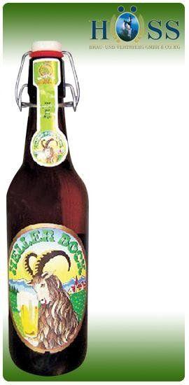 una bottiglia di birra della marca Heller Bock