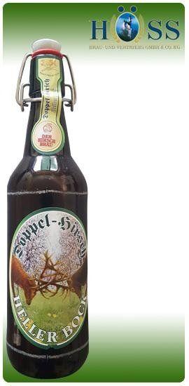 una bottiglia di birra della marca Doppel Birsch Heller Bock