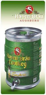 un barile di ferro di birra della marca Hasen Brau CollKeg