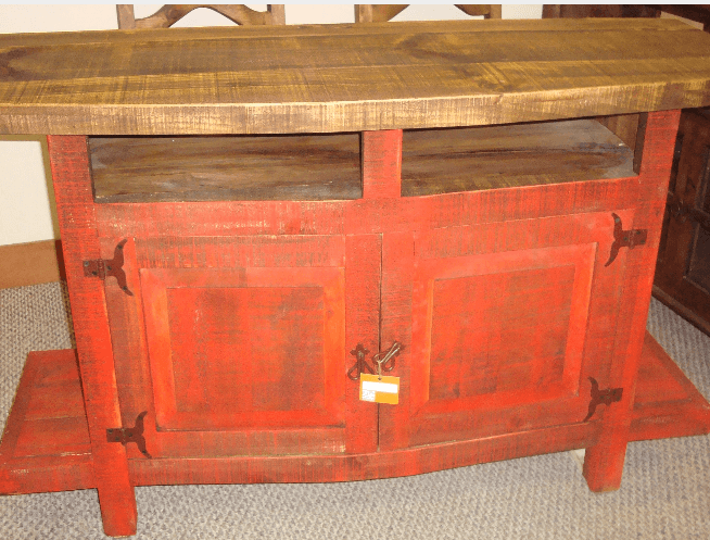 Howdy Home Furniture - Red Rustic Sofa Table