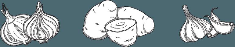 icone: cipolla, patate e aglio
