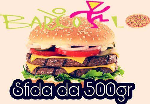 un'immagine di un Hamburger, la scritta Barcollo sfida da 500 gr