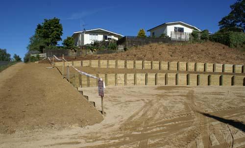 Newly built retaining fence