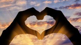 cuore, mani, tramonto, amore, cielo