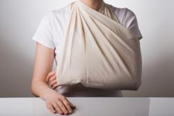 woman's arm in a sling
