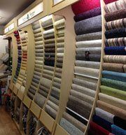 wall rack of carpet samples