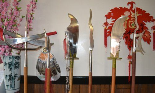 Swords and spears displayed at Chinese restaurant in Tomah, MO