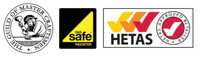 The guild of master craftsmen, gas safe registration, HETAS logo