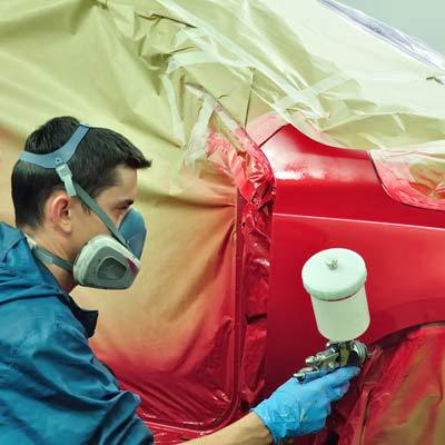 Car getting spraypainted