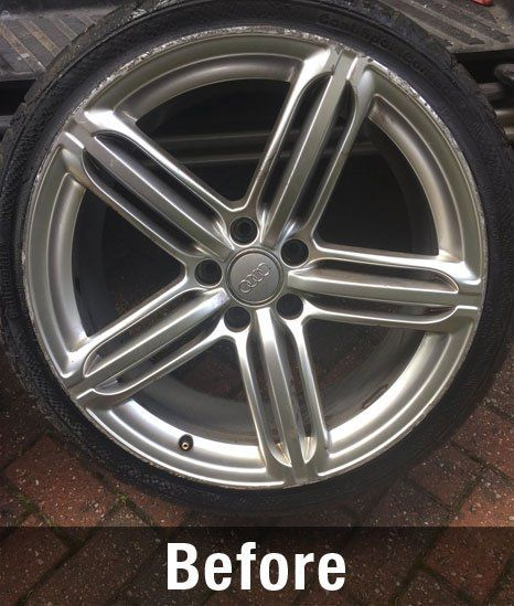 before wheel cleaning