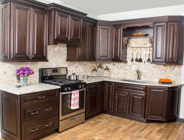 Image Of A White Kitchen Featuring Dark Chocolate Cabinets