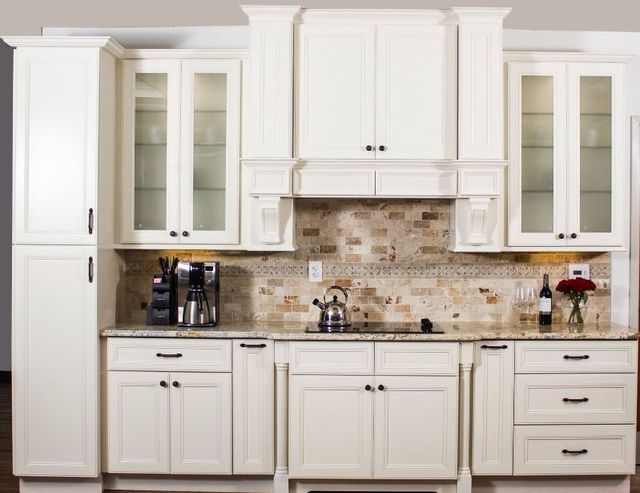 Superior Image Of A Kitchen With White Custom Manufactured Cabinets