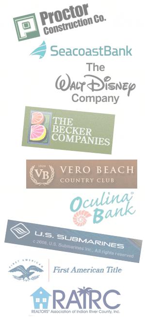 logos of Proctor Construction Co., SeacoastBank, The Walt Disney Company, The Becker Companies, Vero Beach Countru Club, Oculina Bank, U.S. Submarines, First American Title, RAIRC