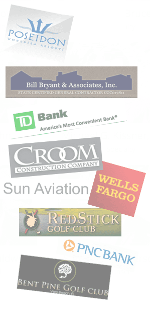 logos of POSEIDON, Bill Bryant & Associates, Inc., TD Bank, CROOM Construction Company, Sun Aviation, Wells Fargo, Red Stick Gold Club, PNC BANK, Bent Pine Golf Club