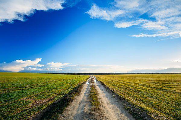 una strada sterrata in una distesa di prato e il cielo azzurro con delle nuvole